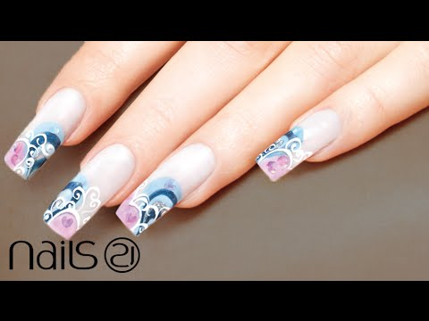 Cute Glamourous Nails . Spiral Decoration . Nails 21