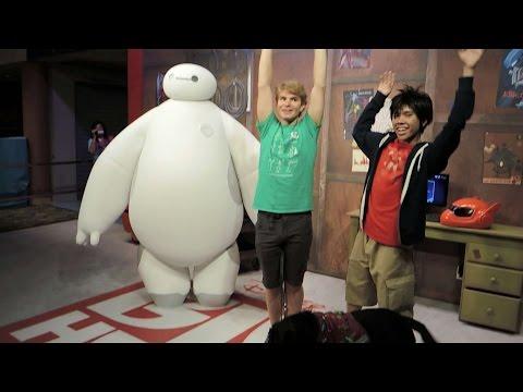 Hiro and Baymax Big Hero 6 meet and greet Tommy at Hollywood Studios Walt Disney World