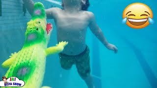 Alligator in the swimming pool || Kids swimming lessons #JaiBistaShow