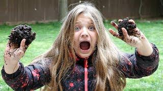 Kids Playing Outside Making Mud Pies In Rain!