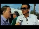 """Mike Connors (""""Mannix"""") is interviewed by David Allan at the Frank Sinatra Celebrity Charity Golf Tournament Gala in Palm Springs 1996."""