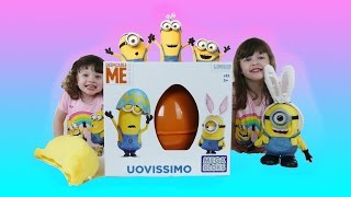 Minions Movie Giant Easter Egg Surprise Fun toys video for kids with Minions Toys
