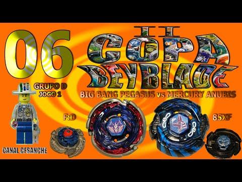 II Copa Beyblade - 06. Big Bang Pegasus F:D vs Mercury Anubis 85XF (Grupo D - Jogo 01)