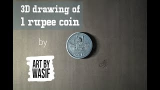 Drawing of 1 rupee coin - How to draw 3D art