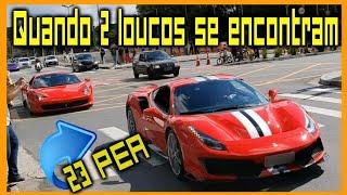 Ferrari chamou a outra, varias jogadas de lado, Nissan GT-R e mais de 400 carros esportivos