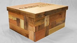 Secret Compartment Shoebox with Patchwork Pallet Wood