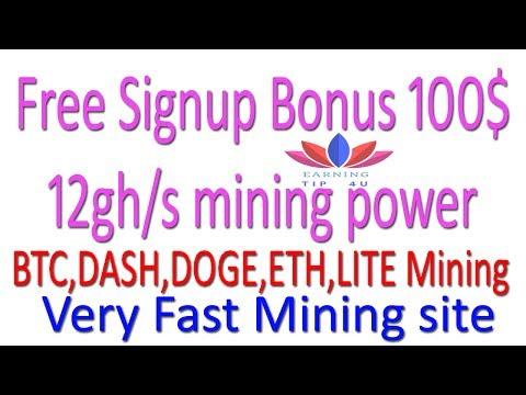 Free Signup Bonus 12gh/s 100$ fast bitcoin mining