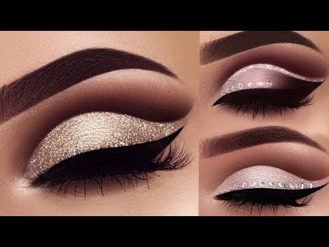 Neutral & Dramatic Eye Makeup Tutorial 2018   Classic Brown Glitter Eye Makeup 2018
