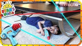Playing Laser Tag from Ryan's World Toys with Daddy 🚀👉🚂