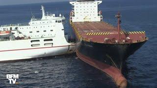 Des images aériennes montrent les deux navires entrés en collision près de la Corse