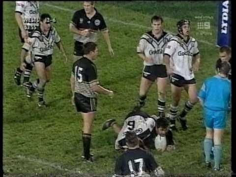 The Western Suburbs Magpies v Penrith in 1996. This match was the debut of John Skandalis! It was a bruising game with high tackles, fights and send offs. En...