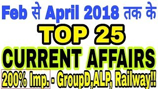 Current Affairs 2018 April Questions with Answers  | Current Gk for Group D ALP Railway 2018 Exams