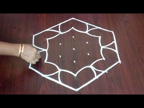 Easy Dotted Rangoli 7 x 4 ||  Beautiful Kolam & Muggulu Design || Fashion World & Rangoli
