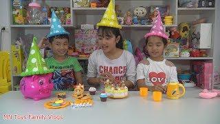 Tổ Chức Sinh Nhật Cho Heo Đất - Dạy Bé Học Màu Sắc Với Mũ Sinh Nhật - Baby Birthday Party Hat