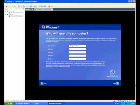 How to install Windows XP Professional in VMware Workstation 7