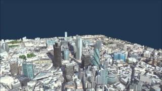 WorldView-2 satellite imagery draped over digital surface model (DSM) - London | UK