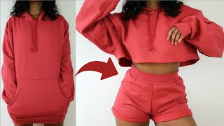 Transforming $5 Oversized Hoodie into Two Piece Lounge Set | DIY Transformation