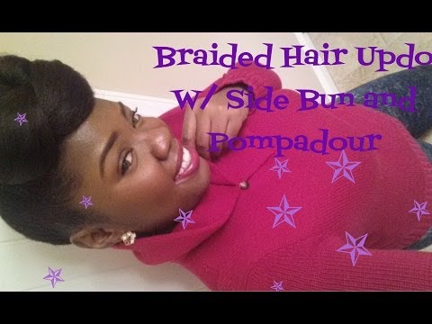 Hair Tutorial: Side Bun Pompadour Updo Using Braiding Hair (Highly Requested)