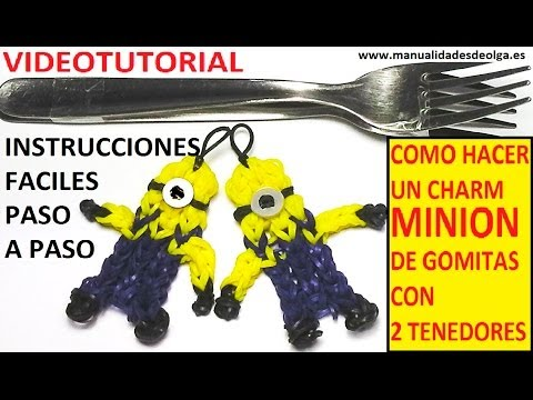 Como Hacer Un Minion De Gomitas Con Dos Tenedores. Video Tutorial Diy Figura (charm) video