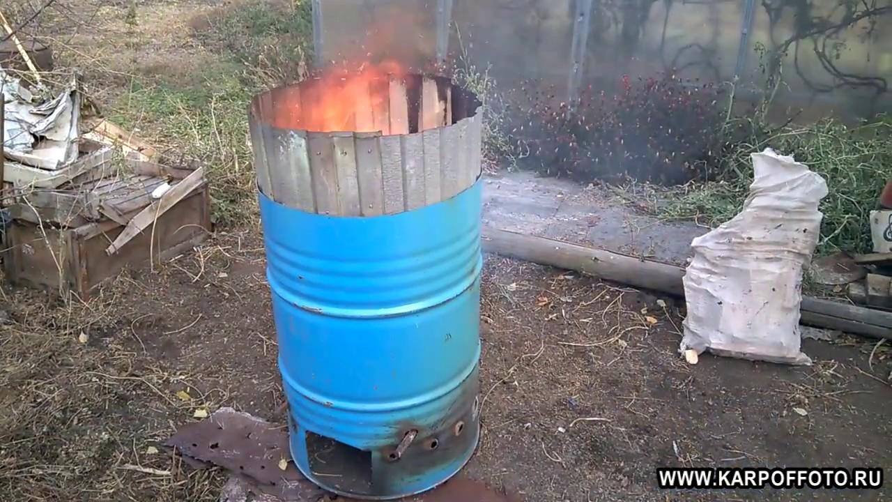 Как из бочки сделать печь для сжигания  109