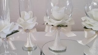 INEXPENSIVE ROSE COVERED WINE GLASSES   INEXPENSIVE DIY   SOME DOLLAR TREE ITEMS