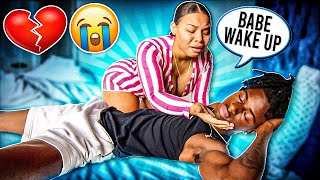 NOT WAKING UP PRANK ON GIRLFRIEND!! (Cute Reaction)