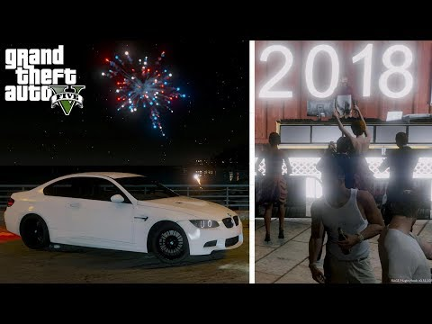 GTA 5 REAL LIFE MOD #36 New Years Eve Party Bringing In The New Year With Fire Works Happy New Years