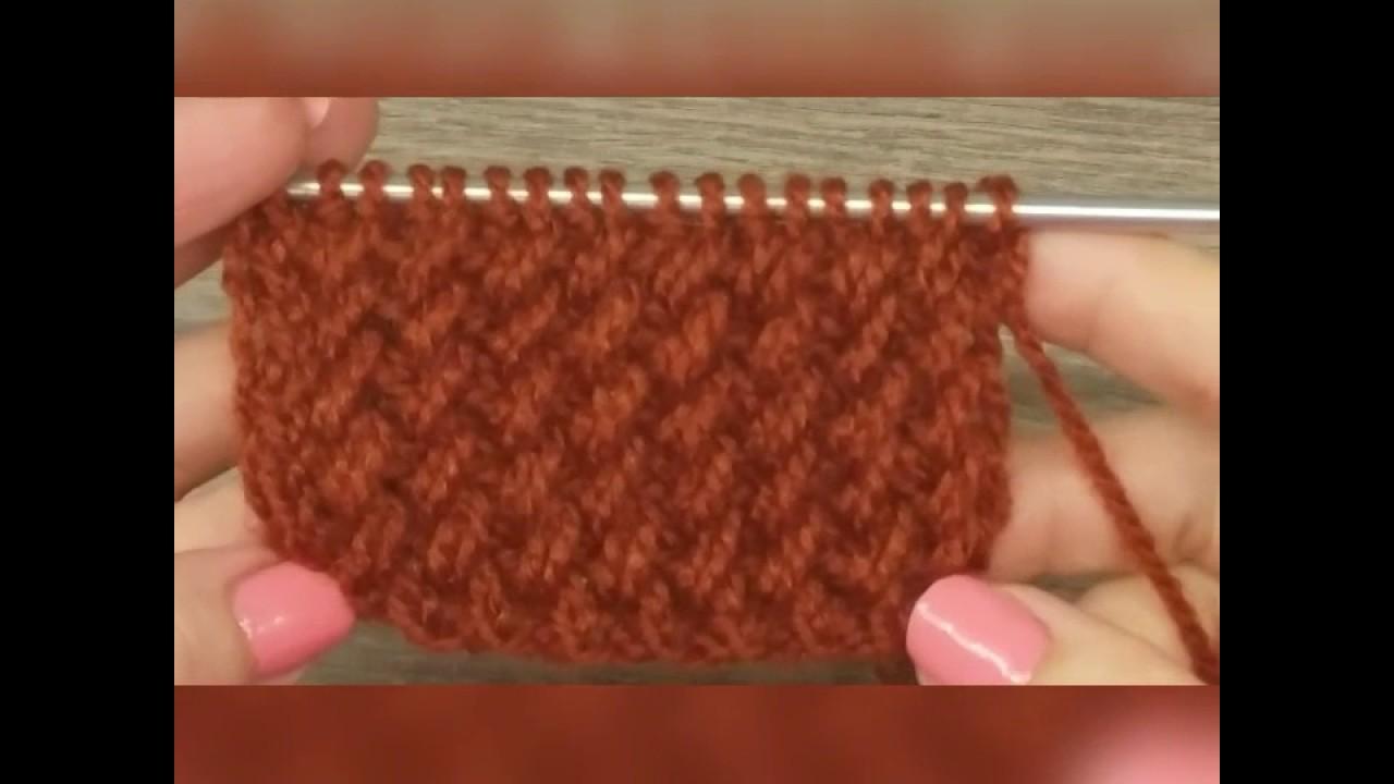 Шапка узором резинка с косыми петлями спицами