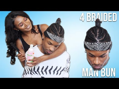 Gf Does Bf Hair - 4 BRAIDED MAN BUN TUTORIAL | Tiara and Kalon