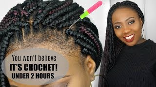 HOW TO CROCHET BOX BRAIDS TUTORIAL | FREE PARTING || LOOKS SOO REAL... YOU WON