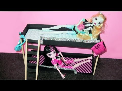 Make doll bunk beds doll crafts youtube for How to make a high bed