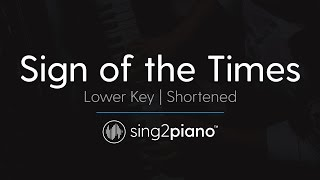 Sign Of The Times Shortened Lower Piano Karaoke Harry Styles