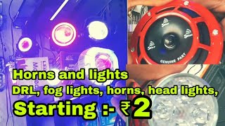 Market of Bikes and Scooty Accessories | Fog Lights, Horn, Gloves,etc | Karol Bagh | By Moto Beast