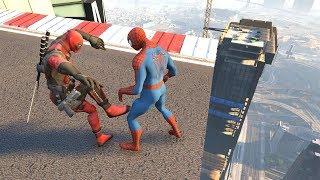 GTA 5 Crazy Ragdolls Spiderman vs Deadpool ep.2 [GTA 5 Euphoria Physics | Funny Moments]