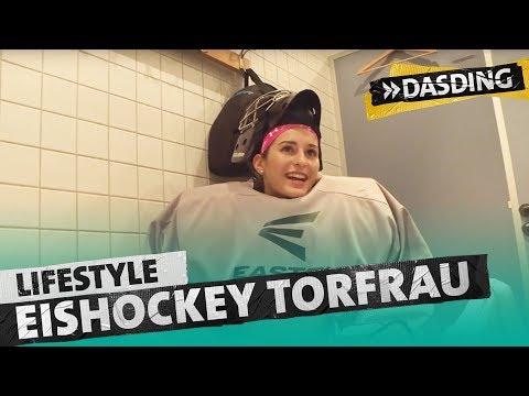 Eishockey Torfrau Michelle - allein unter Männern   DASDING Kaiserslautern