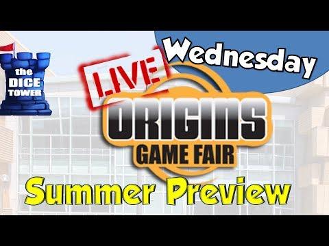 Dice Tower Live Origins 2018 Summer Preview - Wednesday