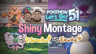 51 SHINY MONTAGE! Pokemon Let's GO Pikachu and Eevee Epic Shiny Reactions and Funny Moments!
