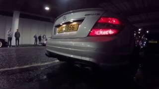 Mercedes C63 AMG rev up - car meet