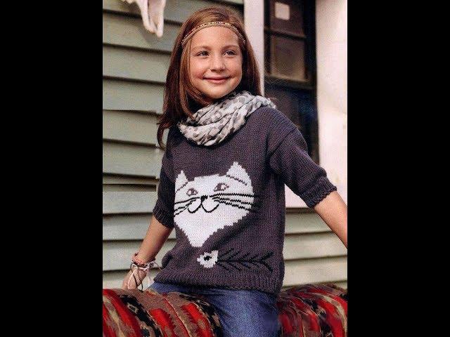 Детский пуловер с кошечкой.Часть №2