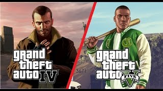 GTA V vs GTA IV + Bugs (PC, Max Settings)