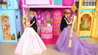Princess Rapunzel Barbie Doll Castle - Princesses Dress Up & Dance Kastil putri Castelo da princesa