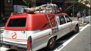 MINI COMPILATION OF MULTIPLE GHOSTBUSTERS ECTO-1 REPLICAS IN MANHATTAN PROMOTING THEIR 2016 MOVIE.