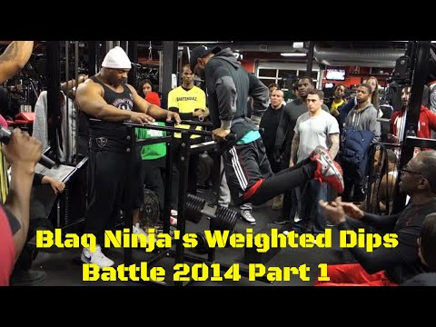 Calisthenics Battle - Blaq Ninja's Weighted Dips Battle 2014 Part 1