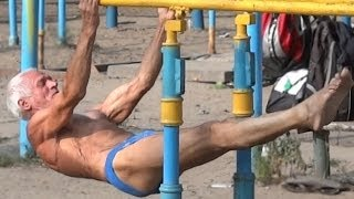Strong 73 year old - workout men, cooler French homeless man