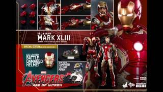 The Avengers Age Of Ultron Hot Toy Mark XLIII Iron Man 1/6 Scale Diecast Figure Pics & Details