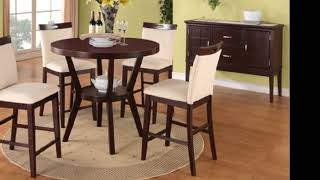 5 pc round Espresso finish wood counter height dining table set with cream faux