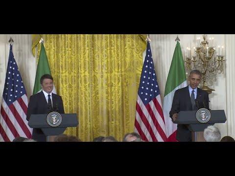 Conferenza stampa Renzi-Obama alla Casa Bianca