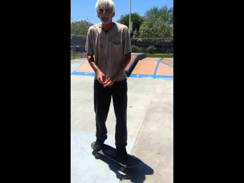 Old man skateboard tricks - kick flip, sissy pop