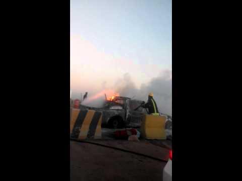car fire in jeddah chek post