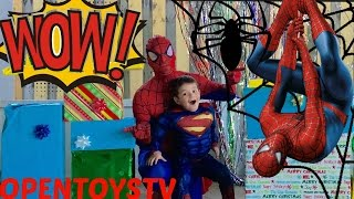 BIG SPIDERMAN PRESENT  SPIDERMAN FOR KIDS AND TOYS UNBOXING OPENTOYSTV